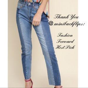 High Waist 5 Pocket Denim Crop Flare Jeans